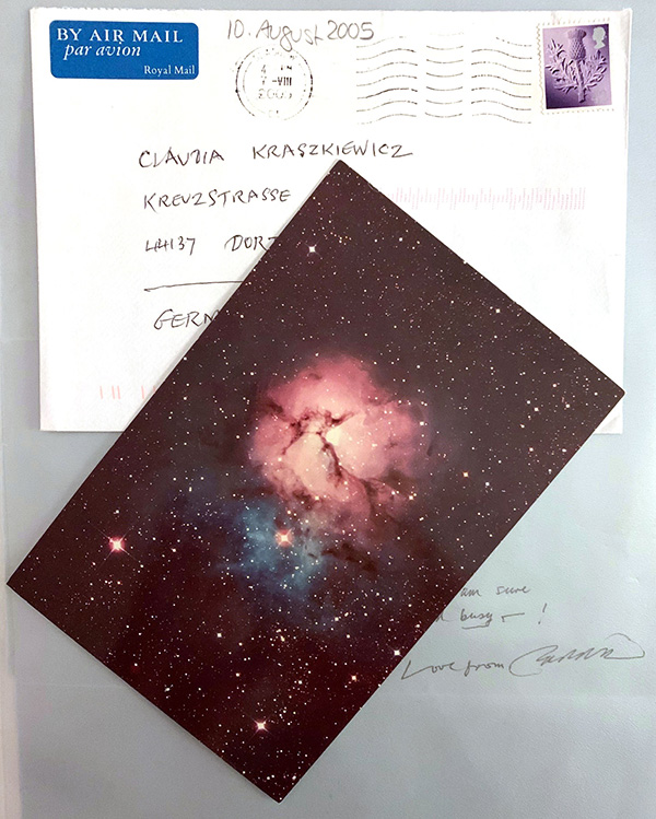 "The Trifid Nebula in Sagittarius was the last card Eddie sent me, along with ""Love and best wishes and stardust"" on 10 August 2005"